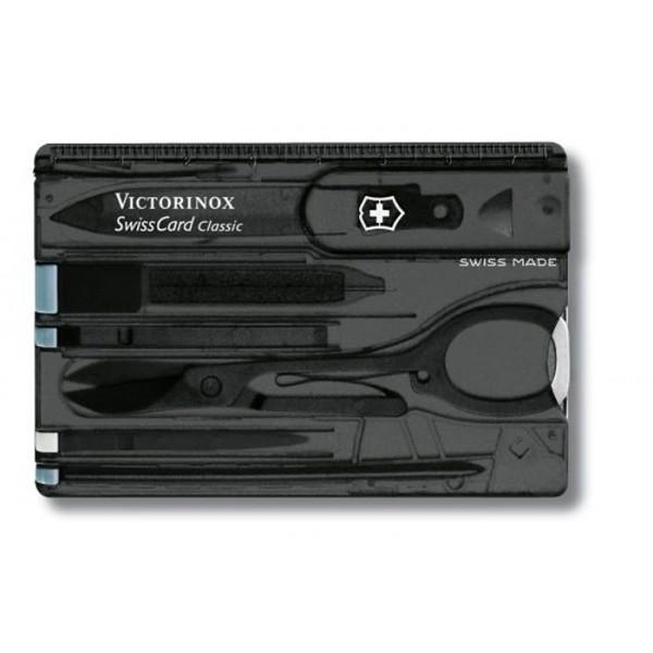 Victorinox Swisscard Classic, Tarjeta 10 Usos Negra Transp. V.07133.T3